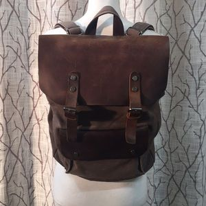 Leather and water resistant canvas backpack